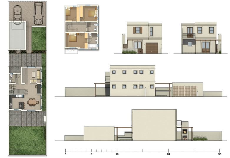 Kelderhof country village row house for Row house layout plan